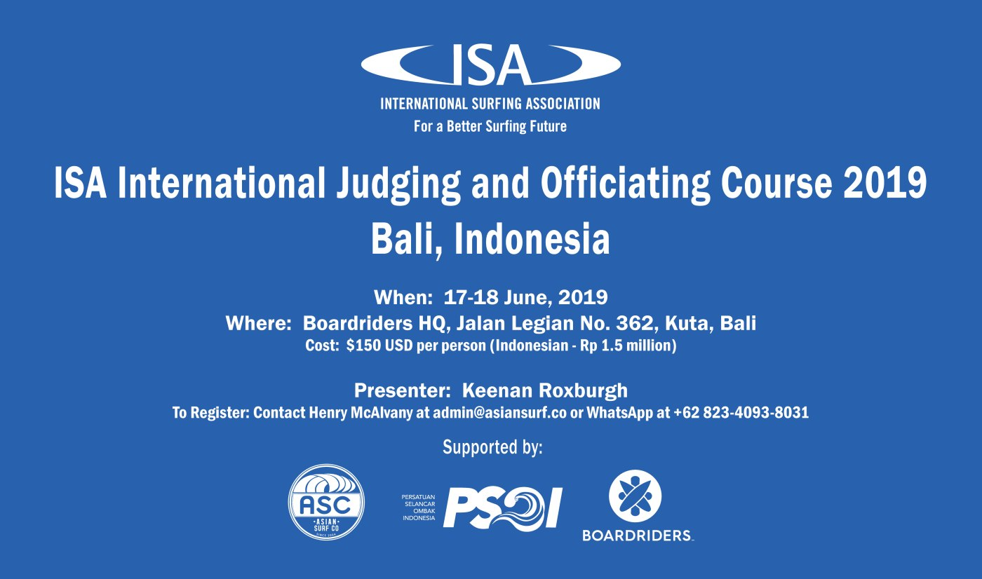 ISA International Judging and Officiating Course yang akan diselenggarakan di Bali dari 17-18 Juni 2019